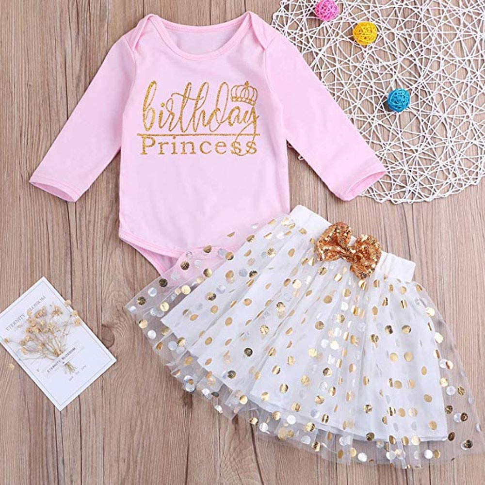 KONFA Toddler Baby Girls 2Pcs Outfits Clothes,Long Sleeve Letter Romper+Sequins Bowknot Dress Sets
