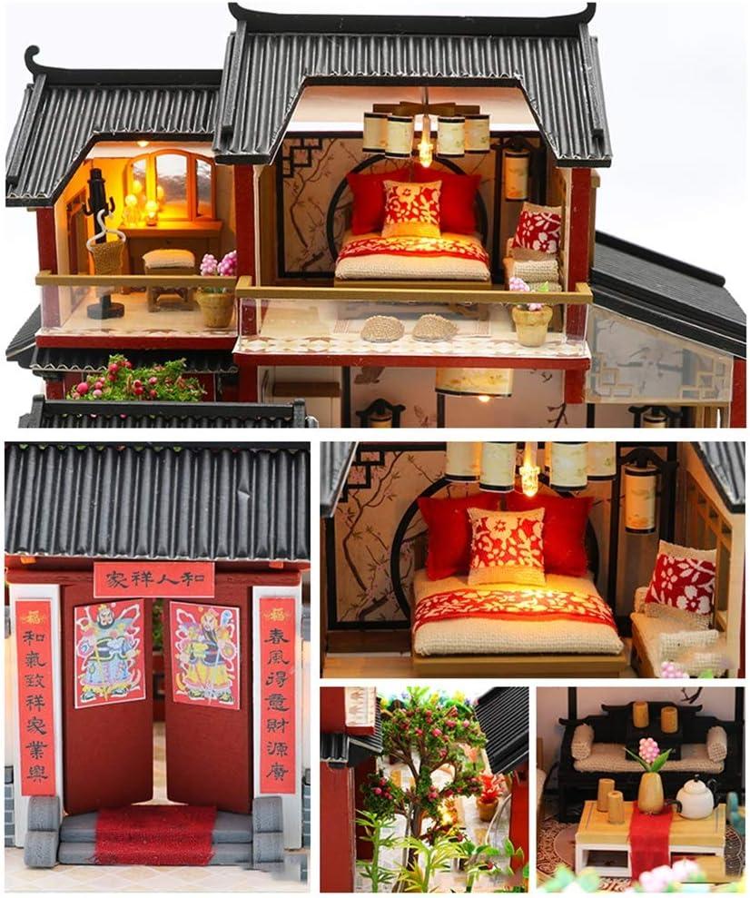 ROCK1ON DIY Puppenhaus Spielzeug Dollhouse Kit Miniatur mit M/öbeln Alter Hof Dachboden mit LED Licht und Staubschutz Weihnachten Kinder und Erwachsene