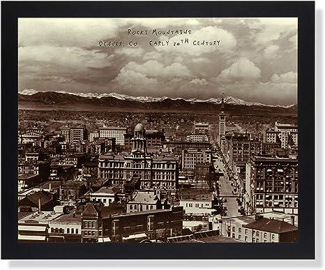 Rocky Mountains In Denver 1900 Photo Landscape Picture Black Framed Art Print Posters Prints