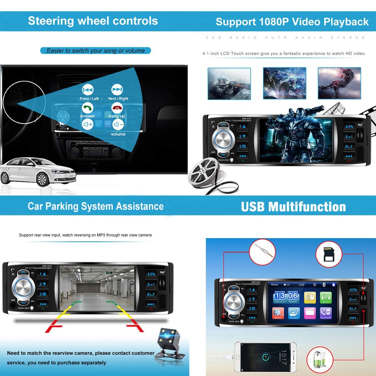 GOFORJUMP Autoradio-Autoradio 1 Din 12v 4,1-Zoll-Touchscreen Auto-Audio-Spiegel-Link RDS-Bluetooth-Autoradio