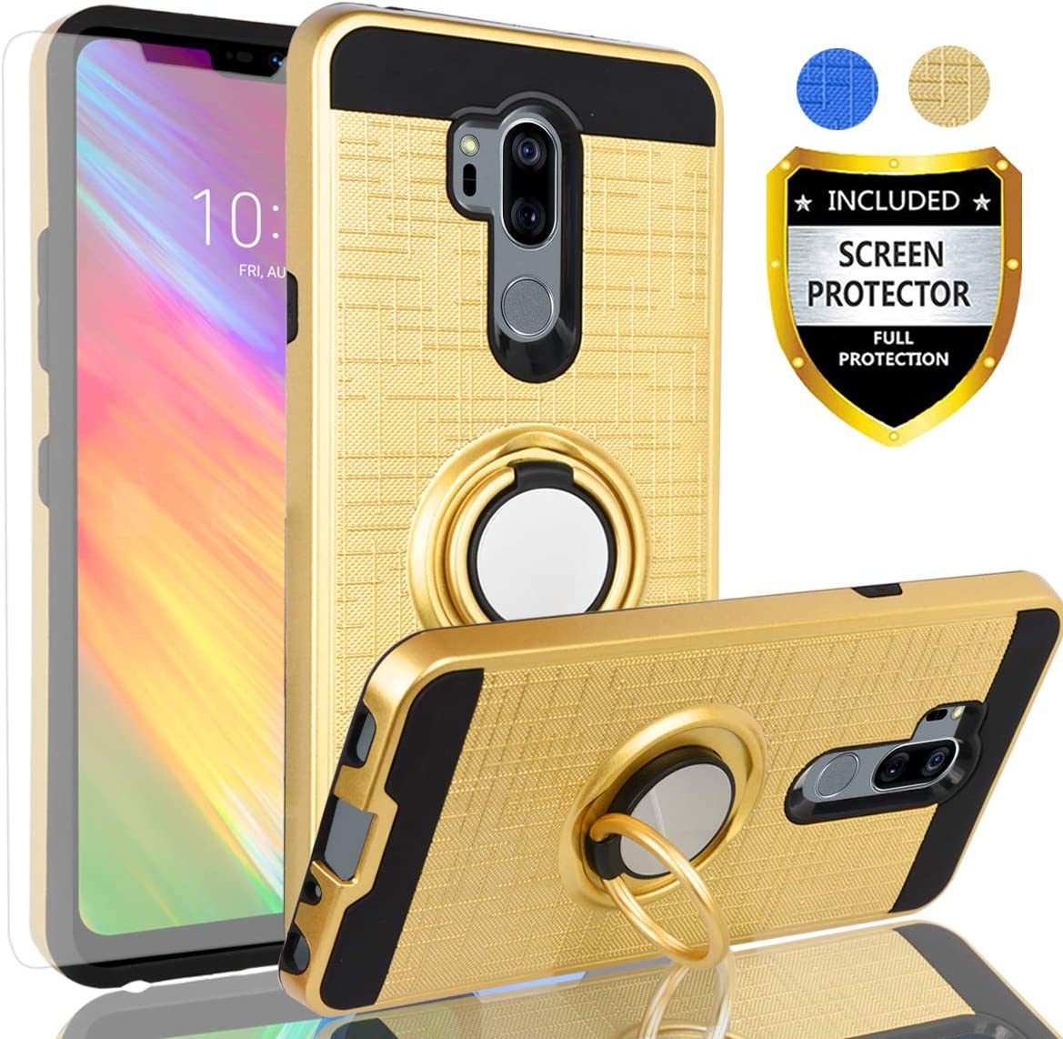 LG G7 ThinQ Case,LG G7 Phone Case,LG G7 Case with HD Screen Protector,AYMECL LG G7 Cellphone 360 Degree Rotating Ring Holder Dual Layer Full-Body Protective Cases Cover for LG G7-ZR Golden