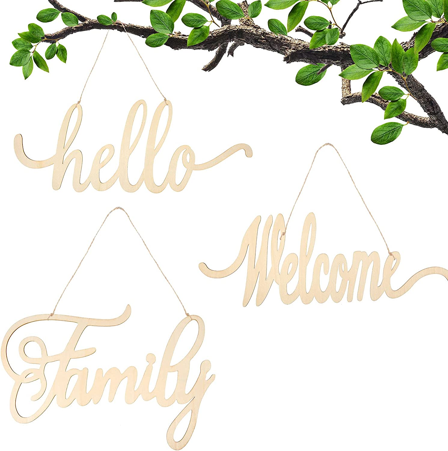Hello Welcome Family Wood Sign Home Cutout Wooden Letter Decorative Block Word Sign Wooden Wall Decal Door Art Farmhouse Rustic Welcome Home Sign for Wall Home Decoration
