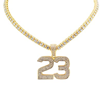 Yellow Gold-Tone Iced Out Hip Hop Bling Jordan Number 23 Pendant 1 Row  Stones Tennis Chain 18