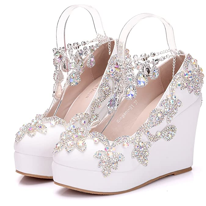 Minitoo Ladies High Wedge Heel Ankle Chains Satin Bridal Wedding Evening  Shoes: Amazon.co.uk: Shoes & Bags