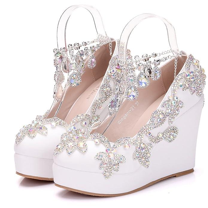 Minishion Womens High Wedge Heel Ankle Chains Satin Bridal Wedding Evening  Shoes: Amazon.ca: Shoes & Handbags