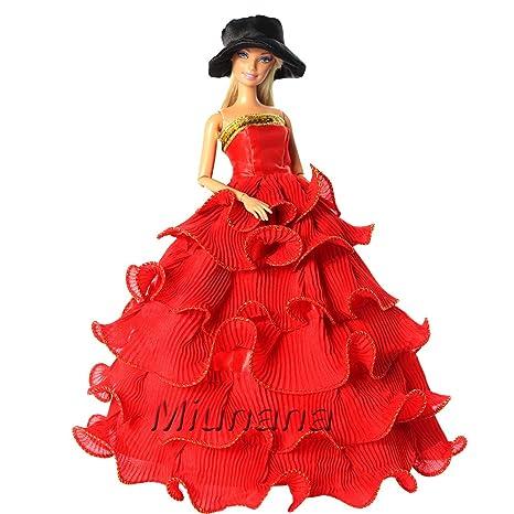 Miunana Vestito Rosso Con Orlo Senza Spallini + Cappello Nero Per  Principessa Bambola Barbie Dolls b631e31b44f