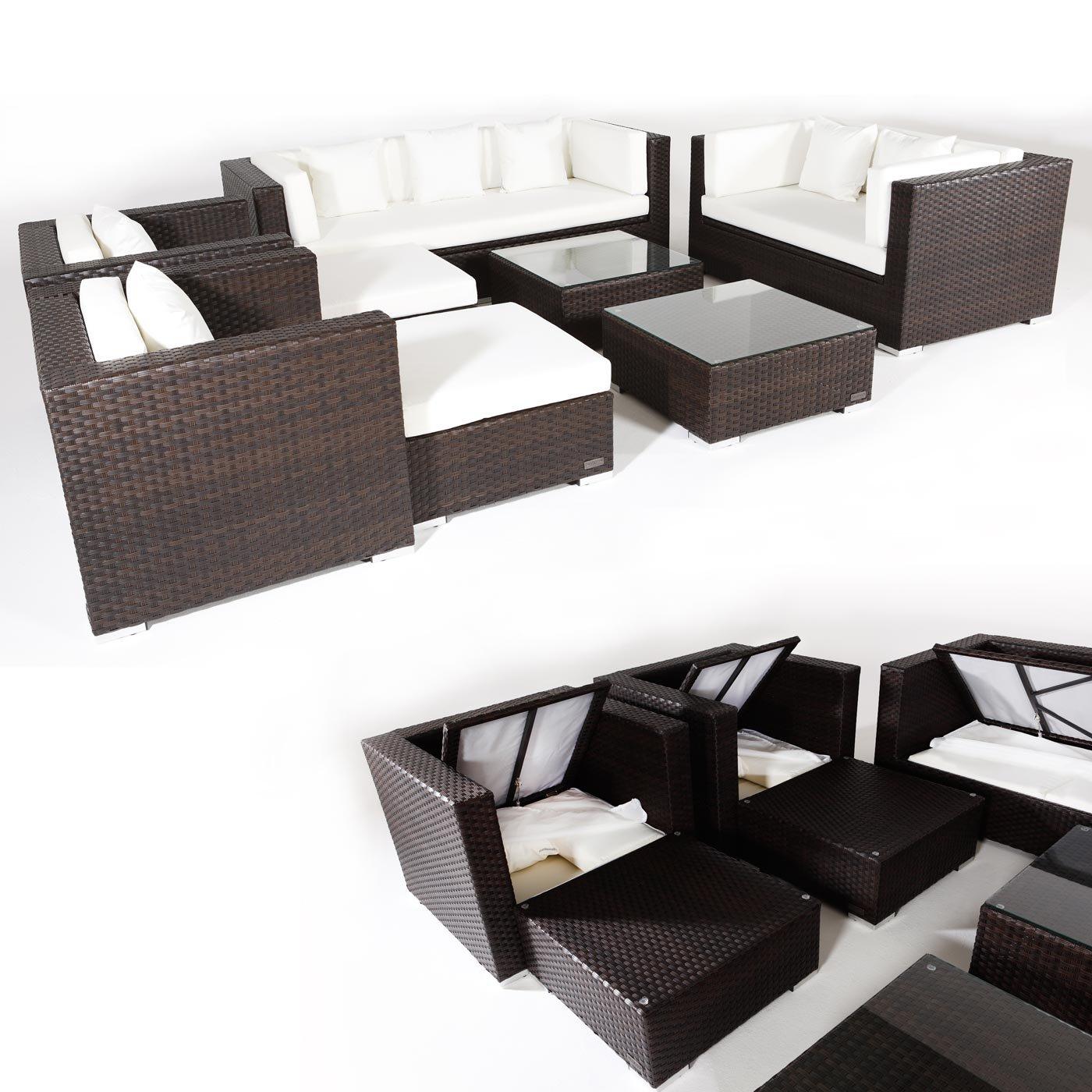 Poly-Rattan Sofa-Garnitur AH006, Lounge-Set Gartengarnitur Sitzgruppe, Kissenboxfunktion ~ braun