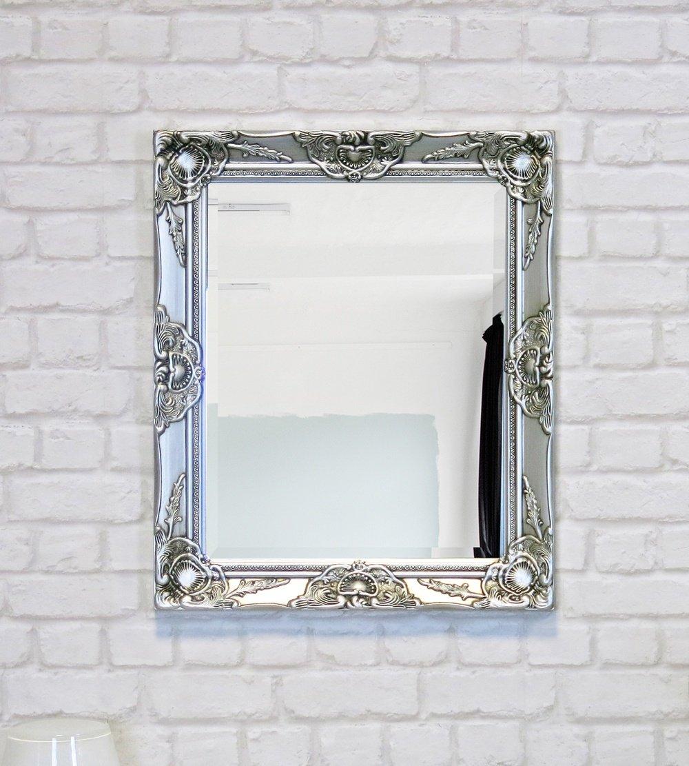 My Flair Spiegel 52x62 cm im Barock-Stil, Wandspiegel, Standspiegel, mit Rahmen silberfarben 0905HH