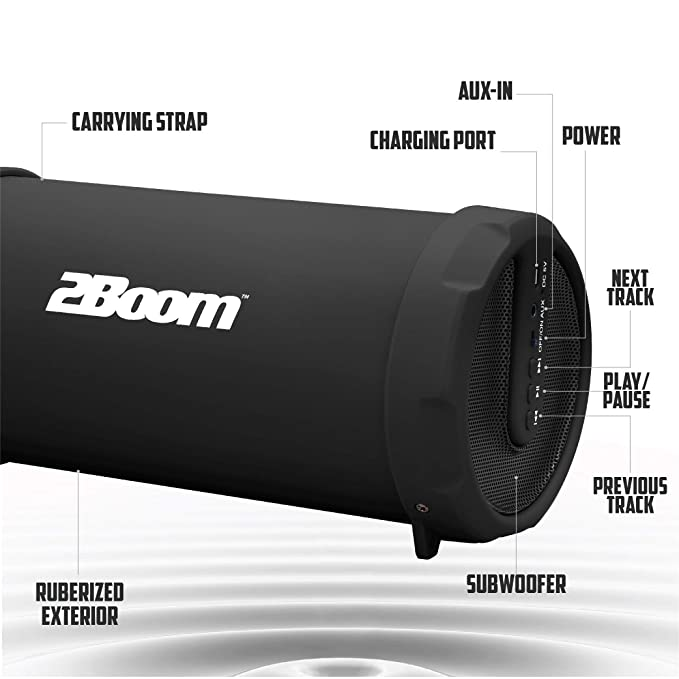 Amazon.com: 2BOOM BX320 Rechargeable Wireless Bluetooth Portable Outdoor Speaker (Black): Home Audio & Theater