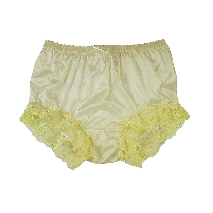 eb6b14776 NYH04D03 Yellow Handmade Vintage Style Brief Panties Nylon for Women Panty  Underwear high Waist Undies (