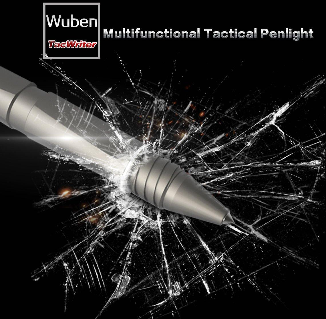 Wuben TP10 Tactical Pen Light 3-in-1 schwarz Kubotan Glasbrecher taktischer Kugelschreiber Mini Taschenlampe USB Aufladbar WBI3331454