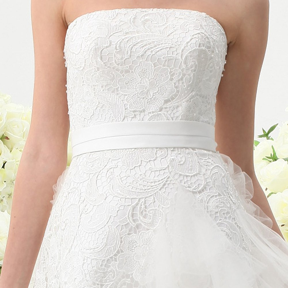 UnionFashionLi Knee Length White Cocktail Lace Wedding Dress with Removable Tail by UnionFashionLi (Image #2)