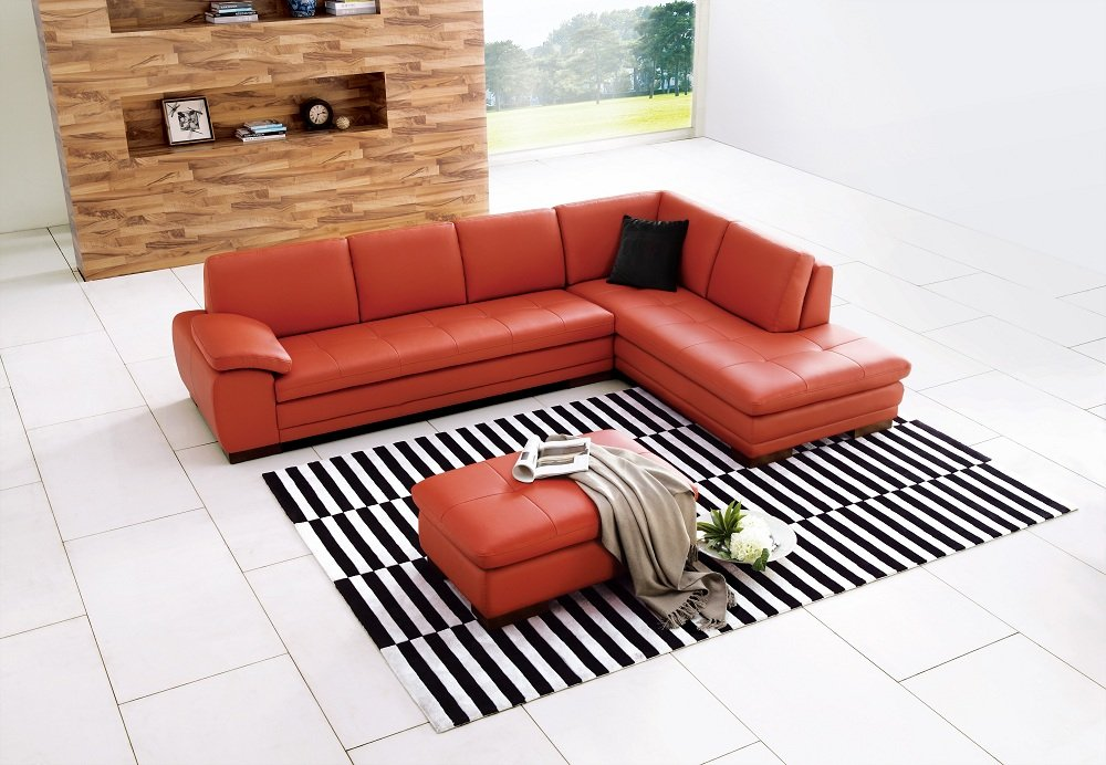 Amazon.com: Ju0026M Furniture 625 Pumpkin Colored Italian Leather Sectional Sofa  With Tufted Design In Right Hand Facing: Kitchen U0026 Dining