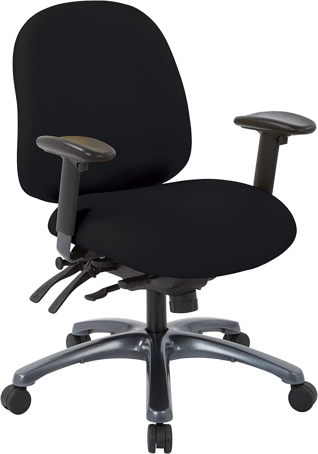 Office Star 8500 Series Multi-Function Mid Back Executive Ergonomic Office Chair with Seat Slider and Titanium Finish Base, Dillon Black Fabric