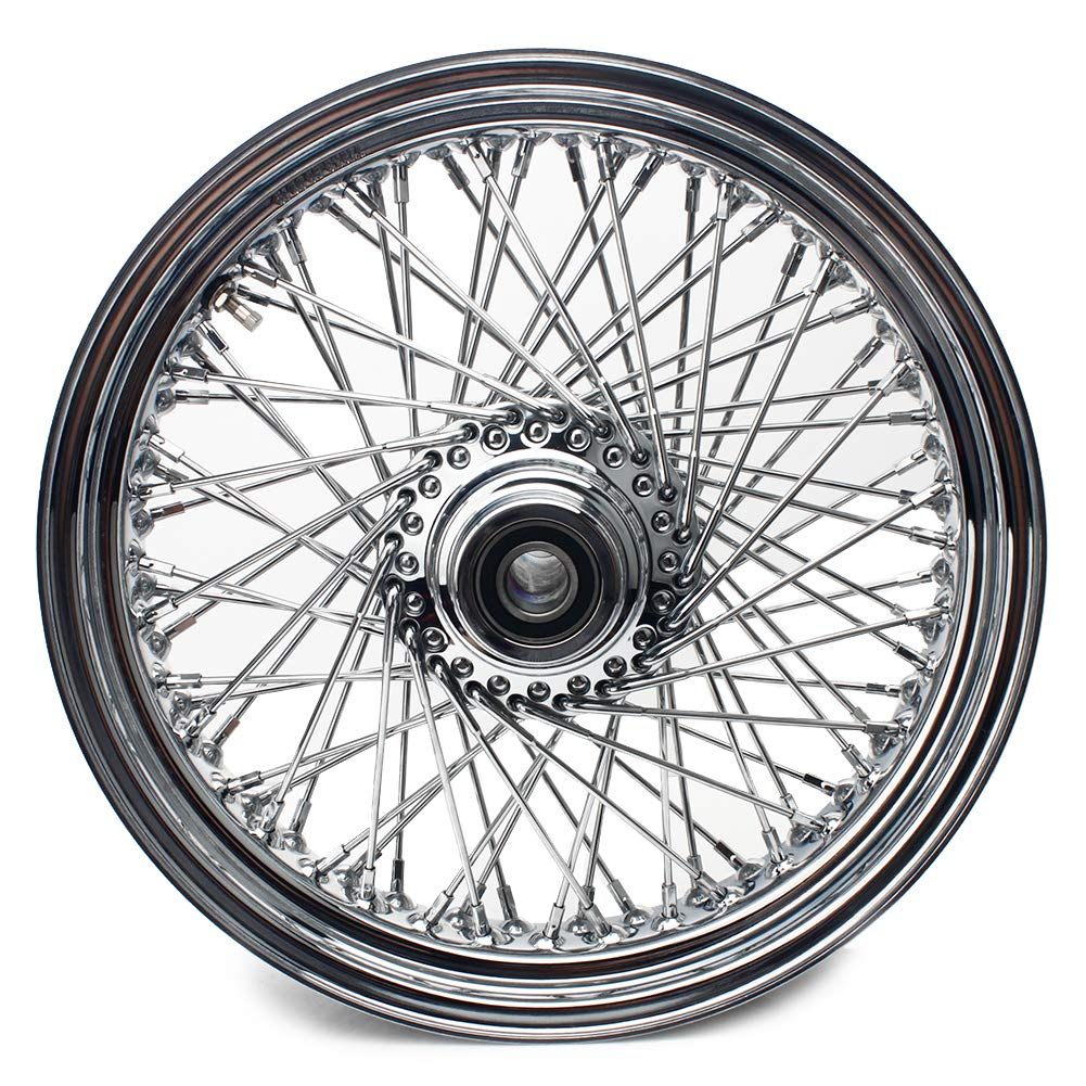 TARAZON 16 x 3.5 Chrome Front Wheel Spokes Wheel Universal for Harley and Customs with 1'' Sealed Bearings and 2.25'' Center Hub by TARAZON