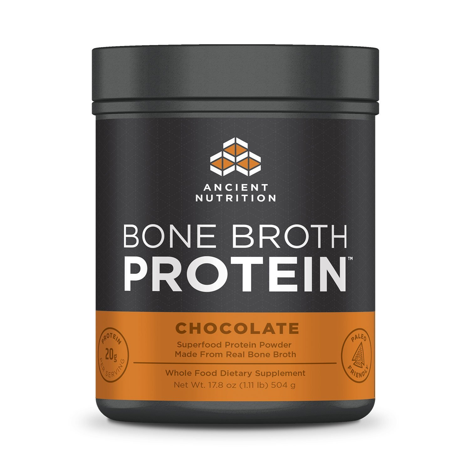 Ancient Nutrition Bone Broth Protein Powder, Chocolate Flavor, 20 Servings Size