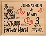 Broad Bay 3 Year Personalized 3rd Anniversary Wedding Gift for Wife
