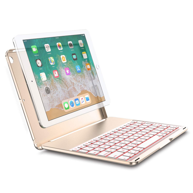 Keyboard Case for 2017 iPad 9.7 (5th Gen) & 2018 New iPad 9.7 (6th Gen)& iPad Air, Bluetooth Folio Hard Back Cover / Aluminum Keyboard base with Auto Sleep / Wake -Ultra Slim, 7 Colors Backlit Tezzionas n3-black