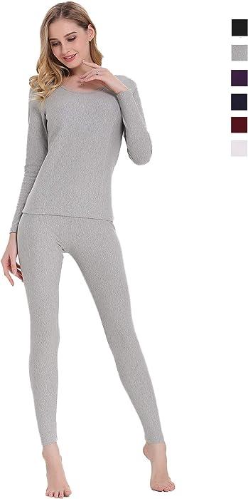 7f13b8d7383d Cherrydew Women's Ultra Soft Thermal Underwear Set Cotton Long Johns Base  Layer Fleece Lined(Gray