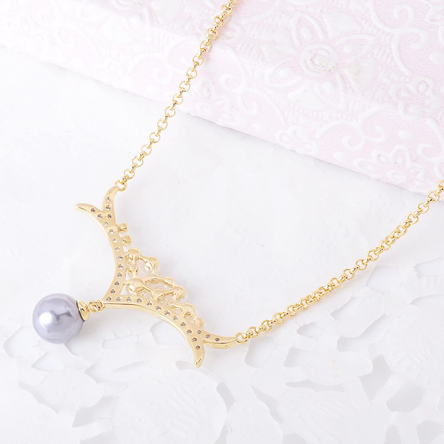 OBONNIE Gold Tone Crystal Deer Horn Antler Pendant Shell Pearls Choker Necklace Jewelry for Women