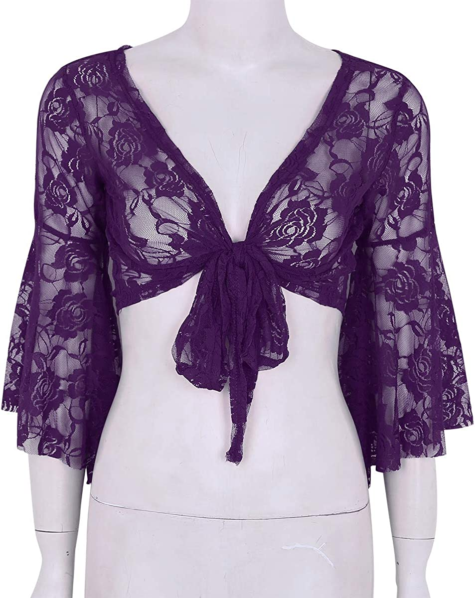 FEESHOW Womens Bell 3//4 Length Butterfly Sleeves Front Tie Lace Bolero Cropped Shrug Top