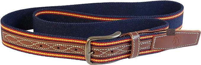 Cinturón Piel/Elastico de 35mm ancho Color Azul 2Tiras España ...
