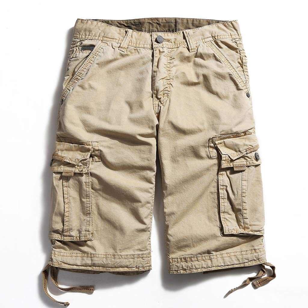 Ratoop Men's Casual Pure Color Outdoors Pocket Beach Work Trouser Cargo Shorts Pant (Khaki A, 32) by Ratoop-Pants