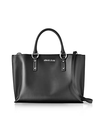 Armani Jeans Women s 922567Cc86400020 Black Faux Leather Tote ... 719f3ba4b0fbc