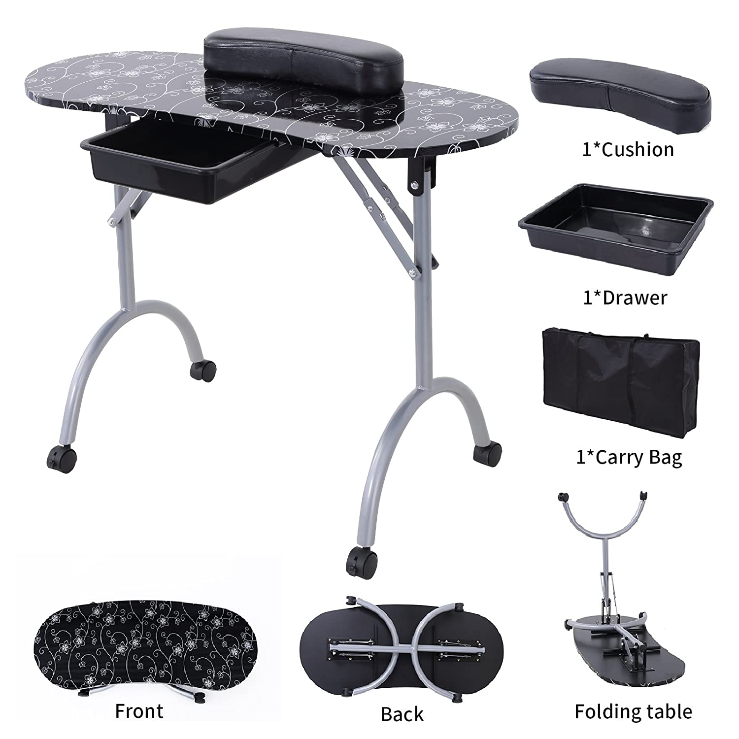Amazon.com : Nails Table Station Murtisol Portable Manicure Table ...