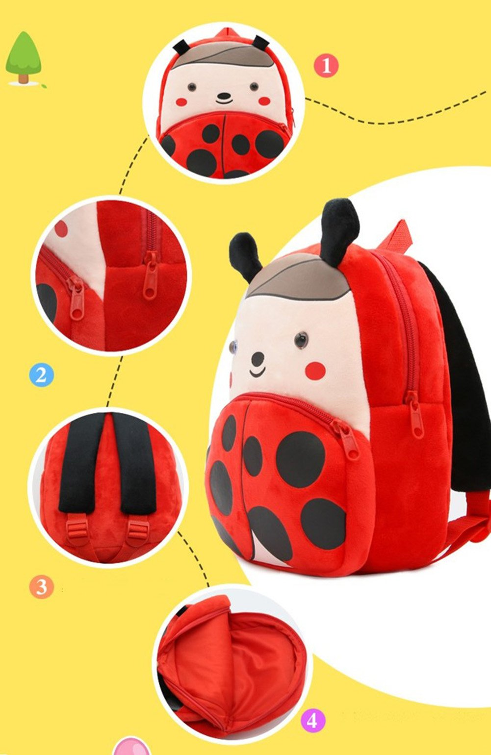 Cute Toddler Backpack Toddler Bag Plush Animal Cartoon Mini Travel Bag for Baby Girl Boy 1-6 Years (Beetle) by NICE CHOICE (Image #4)