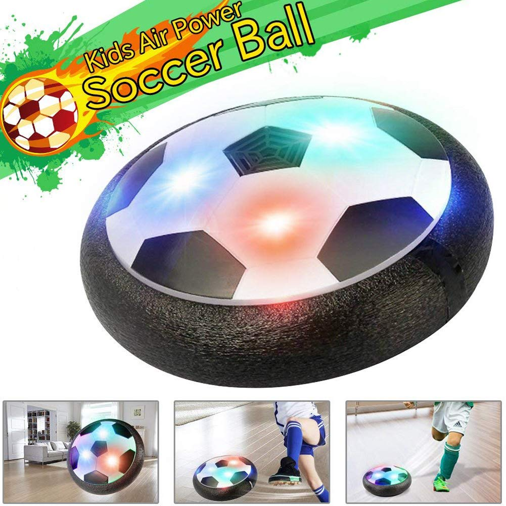 Air Power Soccer Ball Kids Toys Football Games Soft Foam Bumpers Colorful LED Lights for Indoor Outdoor Sports Boys Girls Children Pets Holiday Birthday Christmas Gift cuker