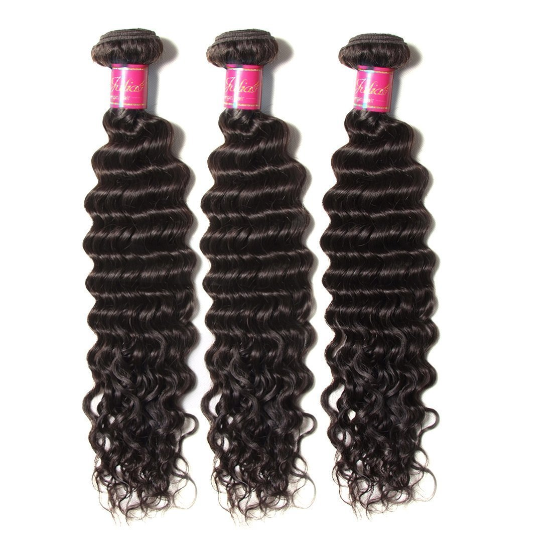 Ali Julia Hair Brazilian Virgin Deep Curly Wave Hair Bundles with Frontal Lace Closure 100% Unprocessed Human Hair Weave Extensions Natural Color (22 24 26+20 inch, Frontal with Bundles) by Yilian (Image #1)