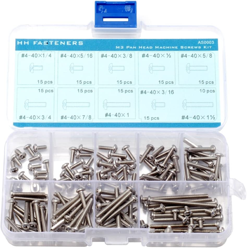 #4-40 Phillips Pan Head Machine Screws Assortment Kit,Stainless Steel