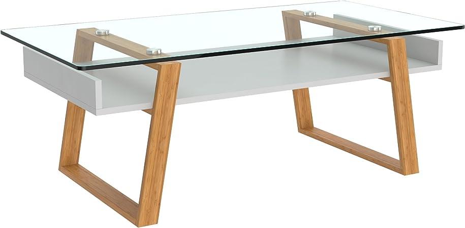 Bonvivo Table Basse Design Donatella Table Basse Scandinave Blanc Table De Salon En Verre Avec Cadre En Bois Naturel