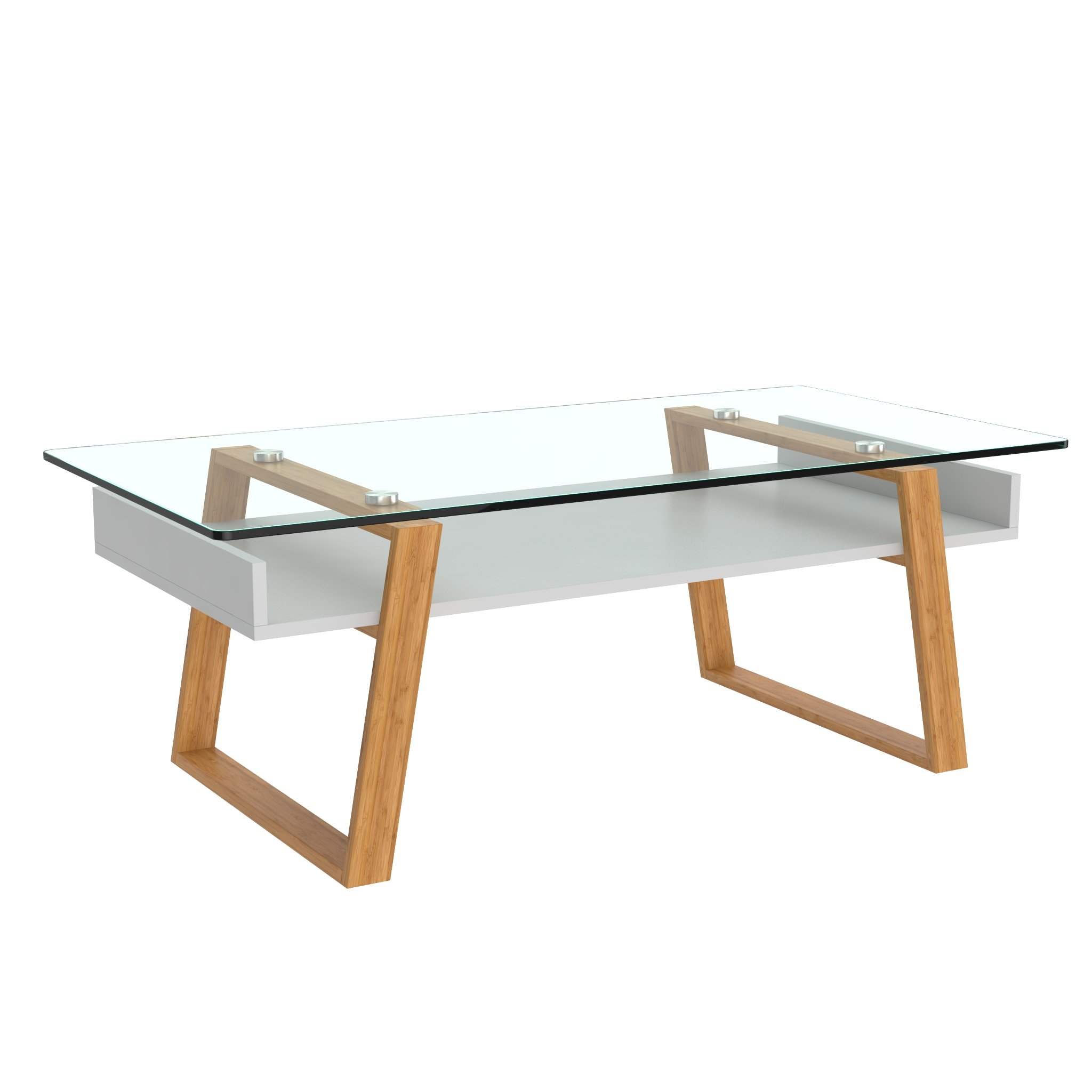 bonVIVO Coffee Table Donatella, Modern Coffee Table for Living Room, Home Decor White Coffee Table, Coffee or Side Table with Natural Wood Frame and Glass Top, Coffee Tables by bonVIVO