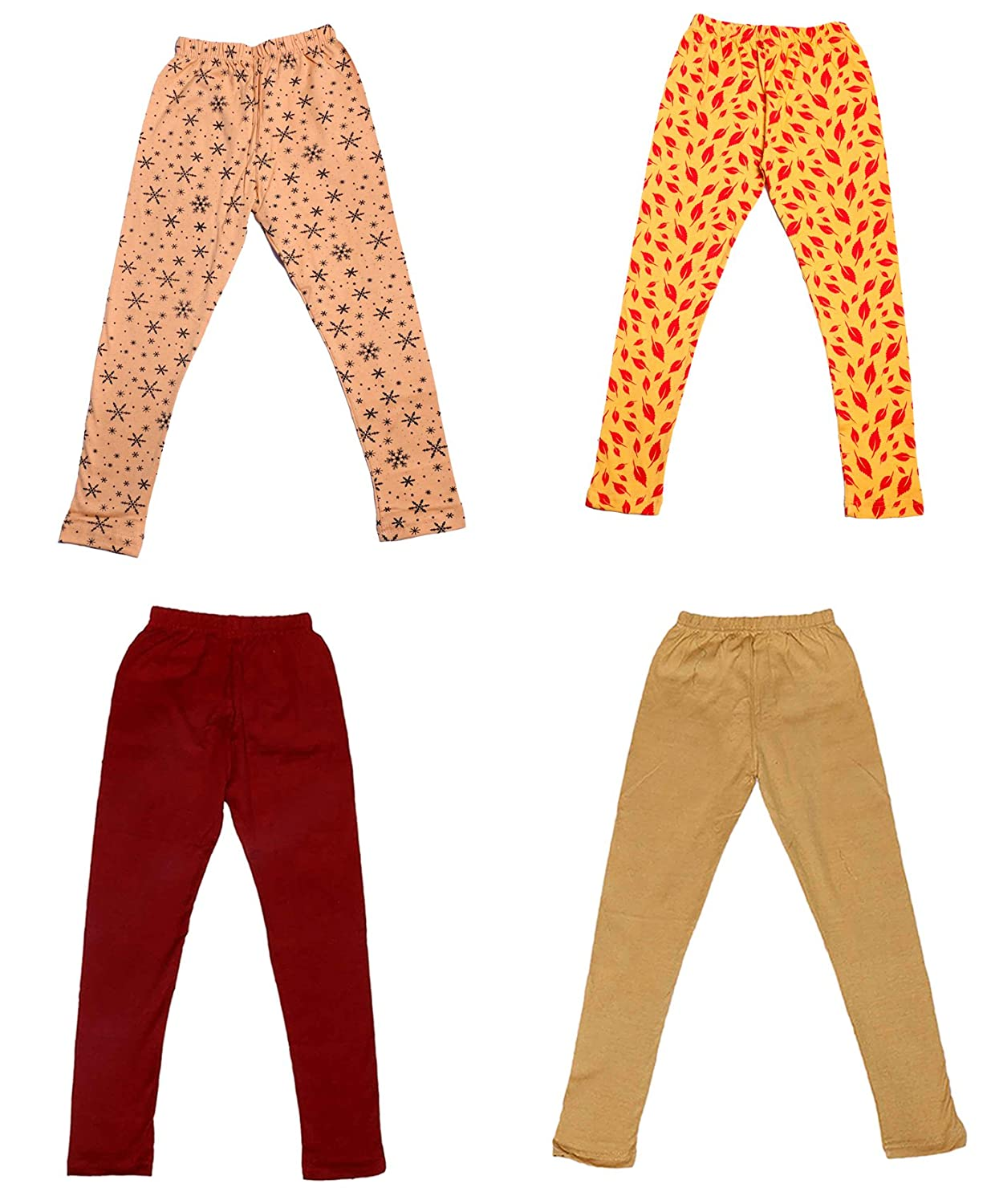 Pack Of 4 Indistar Girls 2 Cotton Solid Legging Pants and 2 Cotton Printed Legging Pants /_Multicolor/_Size-13-14 Years/_71400011819-IW-P4-36
