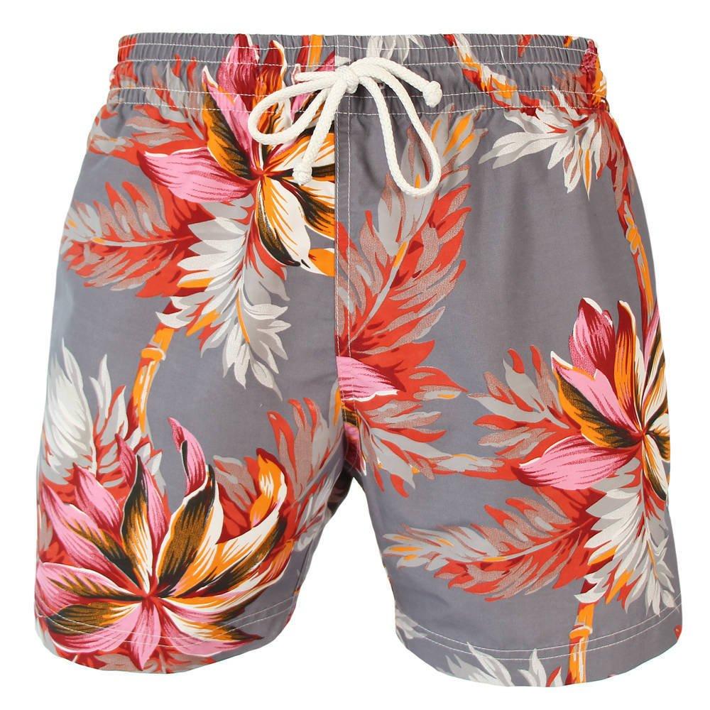 Les loulous de la plage Badeshort und Badehose Herren grau, weiß, braun oder rot - Jules - Tropical Flower