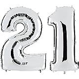 Ballon Zahl 21 in Silber - XXL Riesenzahl 100cm - zum 21. Geburtstag - Party Geschenk Dekoration Folienballon Luftballon Happy Birthday - PARTYMARTY GMBH®