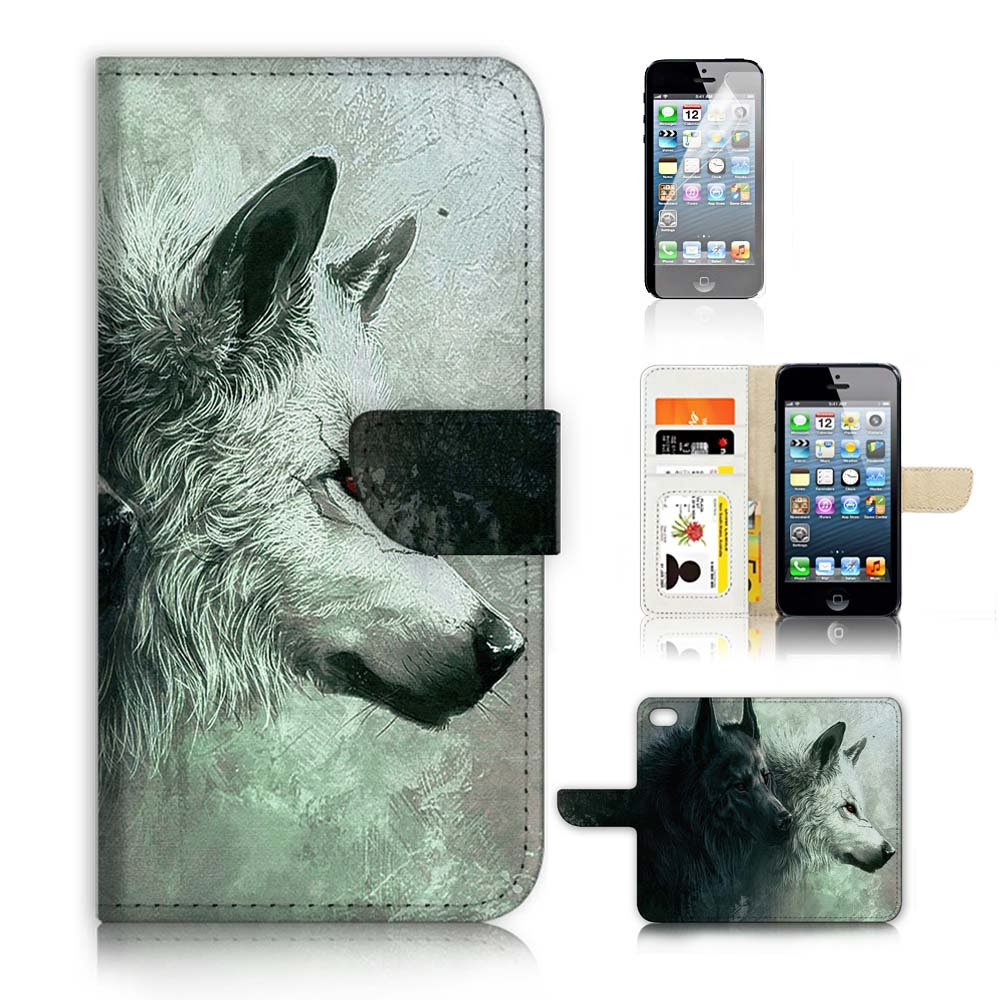 ( For iPhone 5 5S / iPhone SE ) Flip Wallet Case Cover and Screen Protector Bundle A20146 Cool Wolf