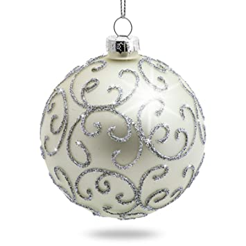Ausgefallene Christbaumkugeln.Sikora 4er Set Ausgefallene Christbaumkugeln Highlights Aus Glas Silber Größe 8 Cm Farbe Modell Modell Florenz Silber