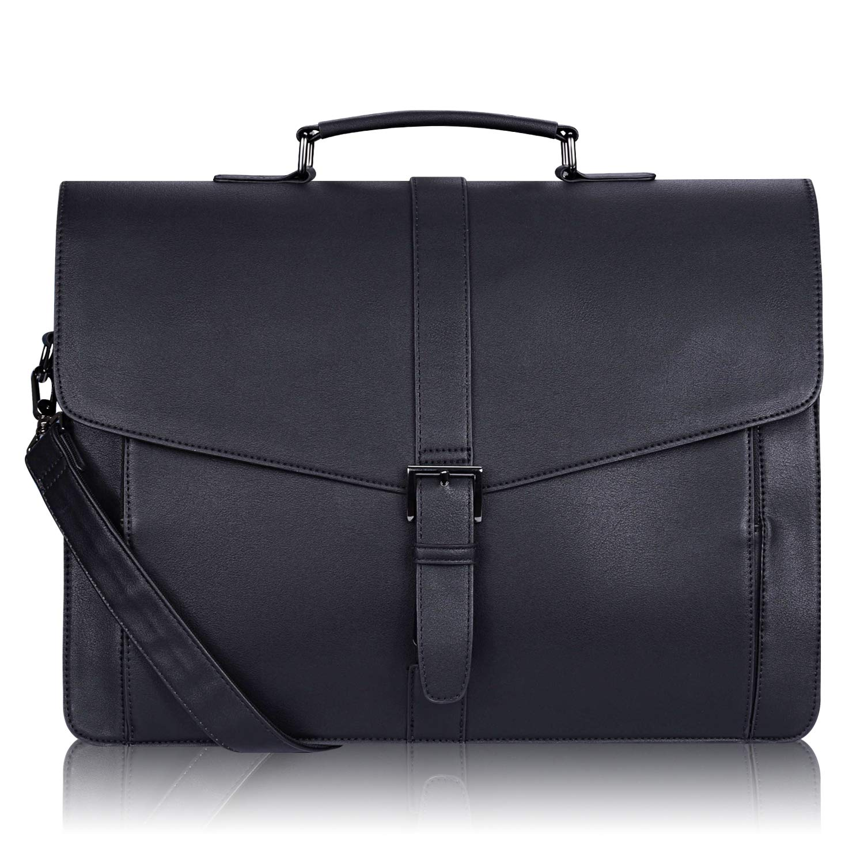 Estarer Men's Leather Briefcase for Travel Office Business 15.6inch Laptop Messenger Bag