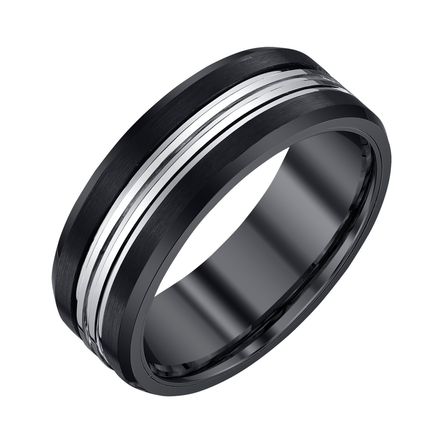 AX Jewelry Mens 8mm Black Grey Tungsten Band