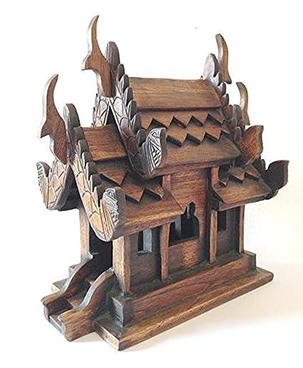 Thai Spirit House SMALL9 Sanpraphum Thai Handmade Spirit House Teak Wood  Decoration Garden,