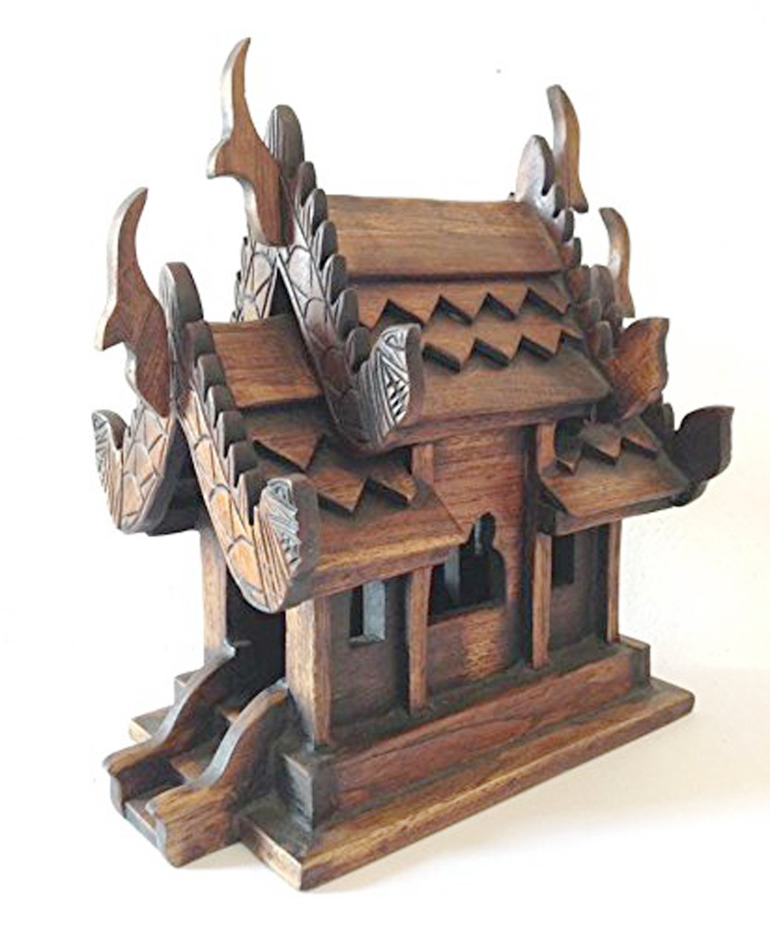 Thai Spirit House SMALL9 Sanpraphum Thai Handmade Spirit House Teak Wood Decoration Garden, by Thai Spirit House