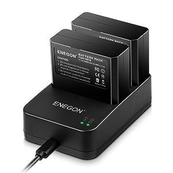 VB18, ENEGON Li-Ion Battery VB18 (Paquete de 2) & Cargador USB Doble para Godox V850 V850II V860C V860N V860II V860II-N V860II-C V860II-S V860II-F ...