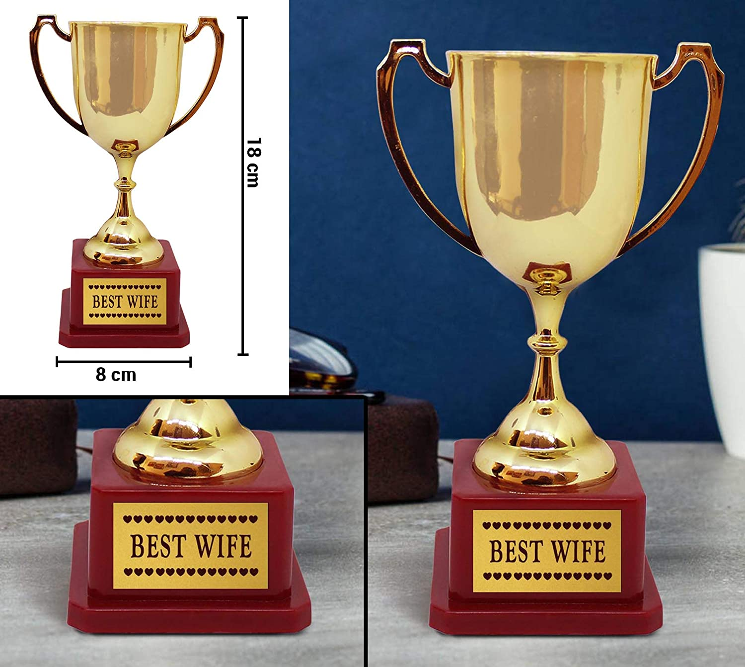 with Golden Trophy 18cm X14cm TiedRibbons Tied Ribbons Romantic Birthday for Wife Quoted Wooden Frame Image Replaceable