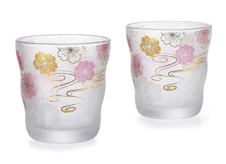 Aderia Japan Japanese Glass Sake Cup 335ml Sakura Cherry Blossom - Set of 2 Glasses S-6299