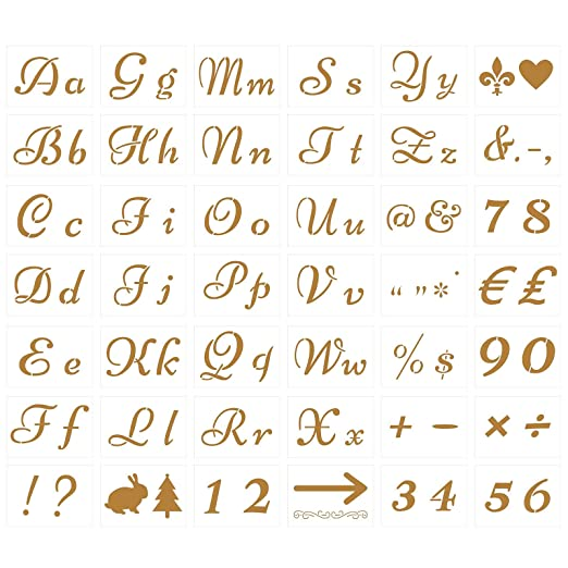 TAZEMAT 42 Hojas Plantillas para Pintar Letras y Números Tarjetas ...