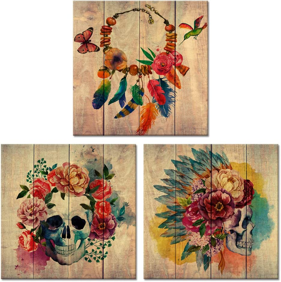 Visual Art Decor Abstract Floral Skull Canvas Wall Art Sugar Skull Poster Art Decor Painting Prints Framed Wall Art