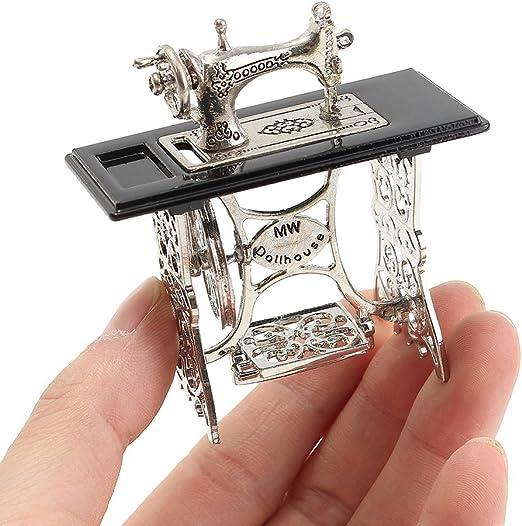 Ogquaton Mini máquina de Coser en Miniatura para 1/12 Escala Casa ...